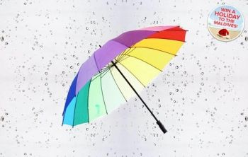 Sick of being soaked? Pick up a giant rainbow golf umbrella from Ministry of Deals for just £8!