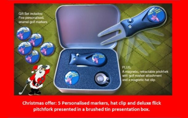 Great Xmas Gift Set with Five Personalised Markers, Retractable Pitchfork and a Hat Clip all in a Personalised Presentation Tin