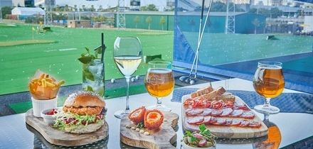 Burger Meal with Wine or Beer, Greenwich Peninsula Golf Range at Vinothec Compass (Up to 46% Off)