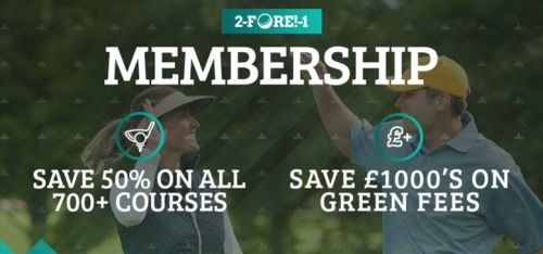 £19 instead of £59 for a six-month golf membership, £29 for one-year membership with 2-Fore-1 - enjoy 2-4-1 access to over 700 golf courses across the UK and save up to 68%